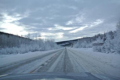アンカレッジよりフェアバンクスの方が雪が多い。<br />レンタカーは四駆にしたもののスタットレスタイヤをはいていなく、雪道の運転に慣れているダンナでも運転はかなり気をつかうらしいです。<br /><br />30分ほど車を走らせて、