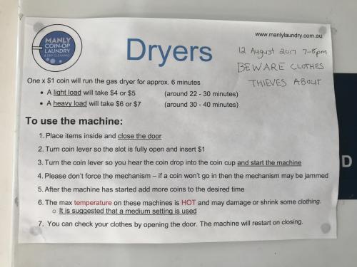 乾燥機は 4$ から 7$ で時間が違います