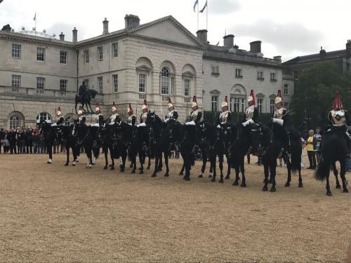 バッキンガム宮殿の衛兵交代式は曜日が決まっているのと<br />とても混んで時間を取るので今回はパスして、こちらを見学しました。<br />馬まで立ったままじっと動かないなんて・・・うちのネコちゃんに見せてやりたいです。<br /><br /><br /><br />ここから、憧れのビッグベンまで歩きます!<br /><br />つづく・・・<br />