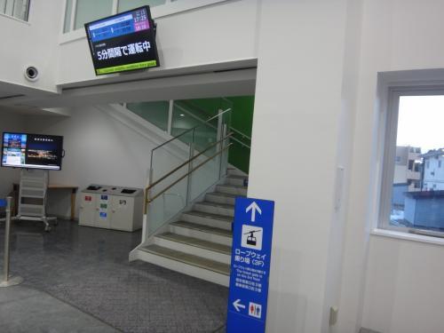 北海道・函館市 『函館山ロープウェイ』の「山麓」1階から<br />ロープウェイのりばのある3階へ階段で上がります。<br /><br />