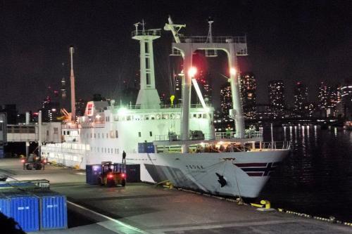 乗船までに時間があるので、埠頭の方に行ってみると、停泊中の「さるびあ丸」にコンテナを積み込み中。<br /><br />1992年から就航している2代目・さるびあ丸は、全長が120m、総トン数が約5千トンの貨客船で、旅客定員は816名。