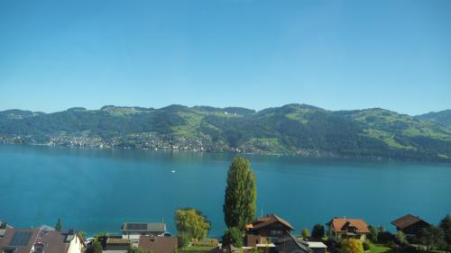 途中のトゥーン湖の眺めも最高!9月下旬ながら牧緑の歌的な風景も健在。<br />もっとも、スイスの友人に言わせると、チューリッヒで札幌くらいの気候と言います。北見に合わせて種まくと、うまく育たない!?北見の方が寒いんですね^^;)