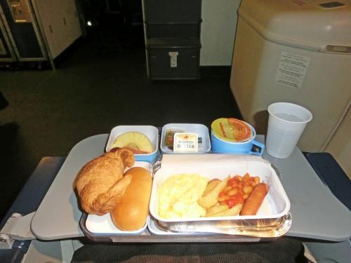 到着直前の朝食。最初の夕食は撮り忘れていた(笑)。<br /><br />エジプト航空はアルコールを積んでいないので、搭乗直前に缶ビールを購入して夕食時に飲んだが、ちょっと侘しい気がする。ただ、食事の内容そのものは普通のエコノミークラスのレベルで、普通に美味しかった。