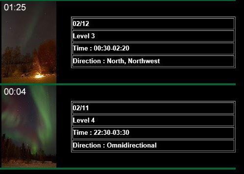 この二日間の オーロラレポートです<br />http://www.aurora-tour.com/aurora_info/info17/February18.html#0213<br /><br />あら?12日もレベル3で見られたんですネ?<br />恐るべし! イエローナイフ!!<br />