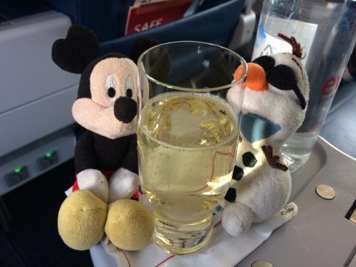 シャンパン or オレンジジュース?<br /> <br />ウェルカムドリンクではシャンパンを選んでみた。<br />プラスチックじゃないよ、グラスだよ!