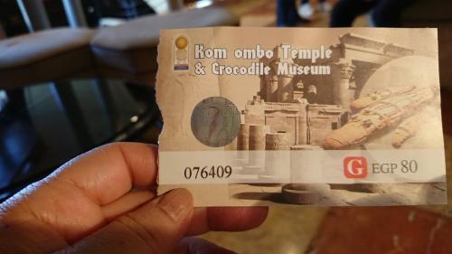 コム・オンボ神殿の入場チケットです。<br />ここはカメラ券を購入しなくても写真を撮ることが出来ました。