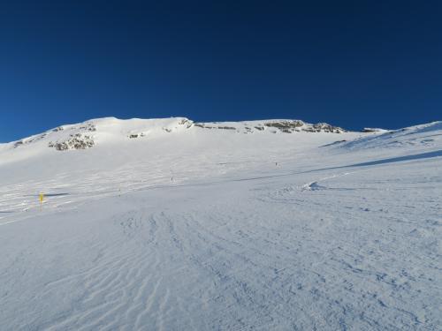 右上が滑走痕ですが、やっぱり雪が重い~