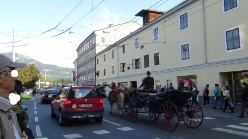 バスを降りたら、馬車が通り過ぎました。<br />街並みに似合いますね。<br />王侯貴族って感じ。でも、観光用かなぁ?<br />