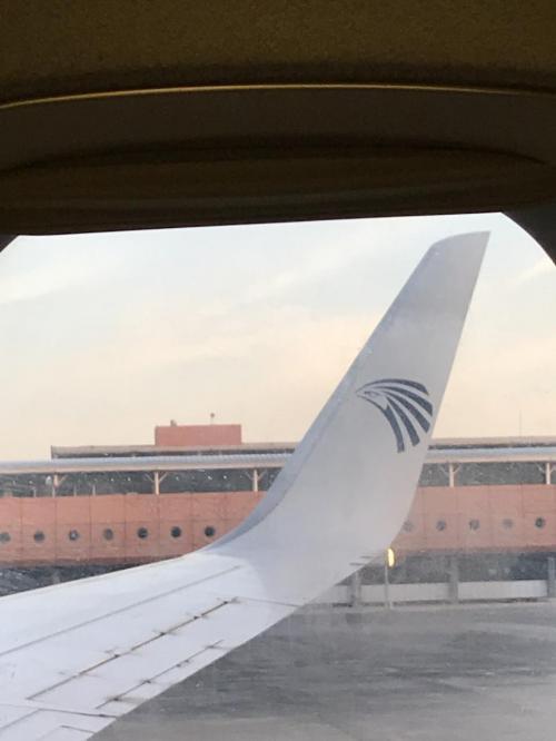 カイロ空港からルクソールへ<br />エジプト航空のロゴでワクワク。<br /><br />