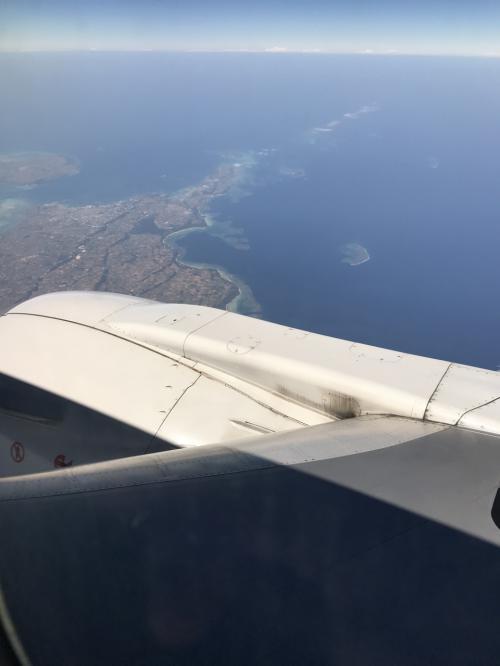宮古島上空。石垣島まであと少しです。