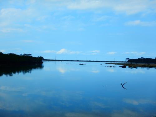 カヌーの途中、あまりにもきれいだったので1枚。<br />こんなにきれいに反射しているとウユニ塩湖みたいですね。<br />おもわず、オールをこぐ手止めてしまいました。(先生には内緒です(笑))<br />干潮でできた干潟にはしおまねきみたいなカニもいてかわいかった!