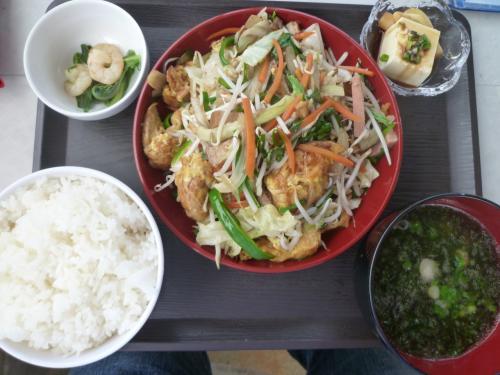 自分的には沖縄本島のハイウェイ食堂に匹敵するであろう麩チャンプルー。アーサー汁、島ラッキョウに豆腐小鉢と小エビとオオタニワタリ小鉢付き。このボリュームで¥700。毎日来たい。