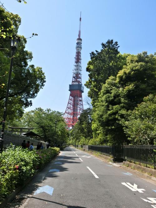 熊野神社の脇道から東京タワー