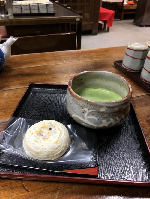 梅ヶ枝餅と抹茶で(*´ω`)