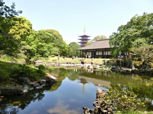 庭園越しに五重塔と共に古今の塔を眺めることができます。
