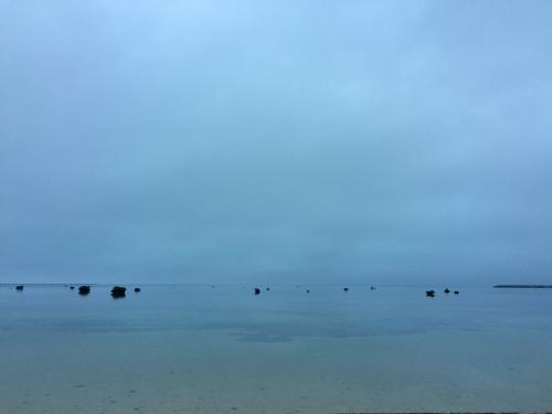 2日目の朝。<br />日の出時間に起きてみましたが、曇っていました。<br /><br />佐和田の浜は静かで、とても澄んでいます。