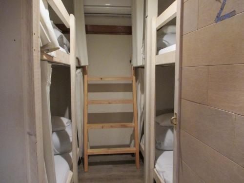 ベッドが 4台のお部屋が二つと、カップルや家族向けかな ベッド 2台のお部屋が一つで定員は 10人。<br />今日は満室とのこと。<br /><br />お部屋に入ってすぐの左右が大きな荷物置き場になっている。<br />スーツケースを広げるのは 1階でですって。