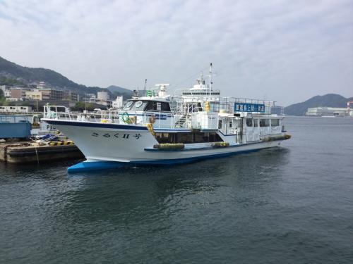 軍艦島ツアーはシーマン商会。この船で軍艦島に行くことに。90人位乗船できる。