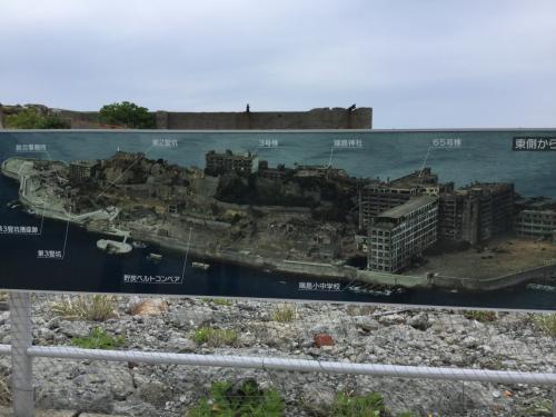 軍艦島の全体像。炭鉱エリア。