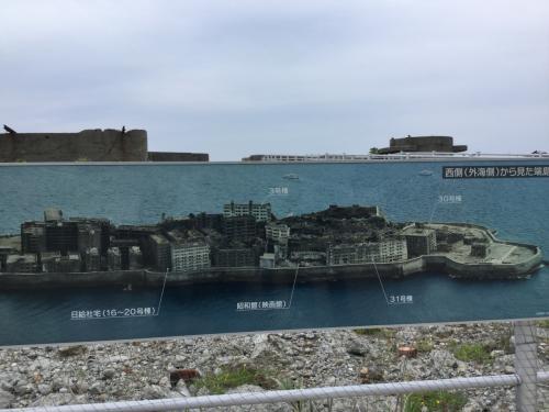 軍艦島の全体像。居住エリア。