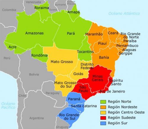 Republica Federativa do Brasil (ブラジル連邦共和国)の地図(出典:viajerobrasil.com)<br />ブラジルの面積は 851万 km2(日本の 23倍)<br />Estado de Minas Gerais(ミーナス・ジェライス州)は直訳すると「皆の鉱山」を意味する。<br />ミーナス・ジェライス州はこの地図で赤く塗られた部分(ブラジル南東部)で Rio de Janairo州の北に位置する。州の面積は 58万6千km2(日本の 2.2倍)州都は Belo Horizonte(ベロリゾンチ)<br />