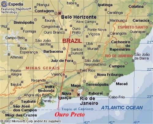 Ouro Preto(オウロ・プレト)の位置図(出典:Microsoft Corp)<br />Rio de Janeiroの北、直線距離 283km、道路距離 404km(車で7時間)、州都 Belo Horizonte(ベロリゾンチ)からは、直線距離 68km、道路距離 97km(車で1時間 25分)<br />