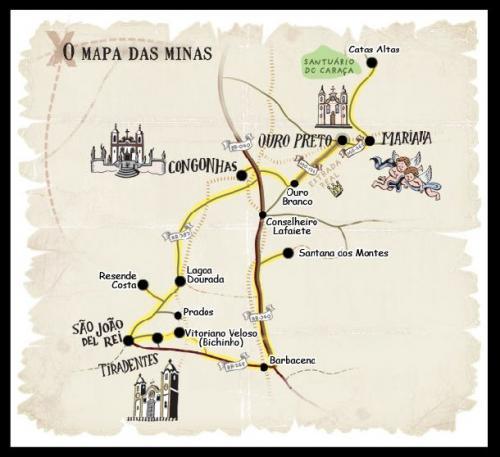 Ouro Preto(オウロ・プレト)周辺のゴールドラッシュに沸いた都市の図(出典:tecservicebh.com.br)<br />「ボン・ジェズス・ド・コンゴーニャスの聖域」の名でユネスコの世界遺産に登録された Congonhas(コンゴーニャス)や 1789年のブラジル独立運動の指導者 Tiradentes(チラデンチス:本名 Joaquim Jose da Silva Xavier)の生まれた Sao Joao del Rei(サン・ジョアン・デル・ヘイ)も近い。