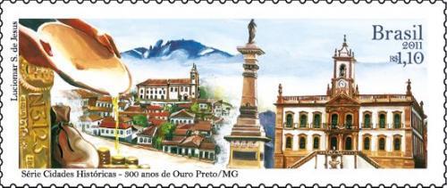 Ouro Preto(オウロ・プレト)をデザインしたブラジルの記念切手(2011年発行:Cariocakeita Museum蔵)