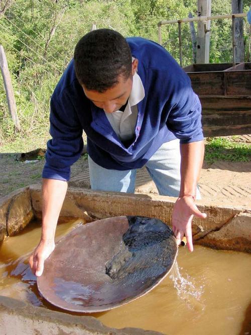 Marianaの金鉱跡では観光客用に砂金採りのデモを行っていた。