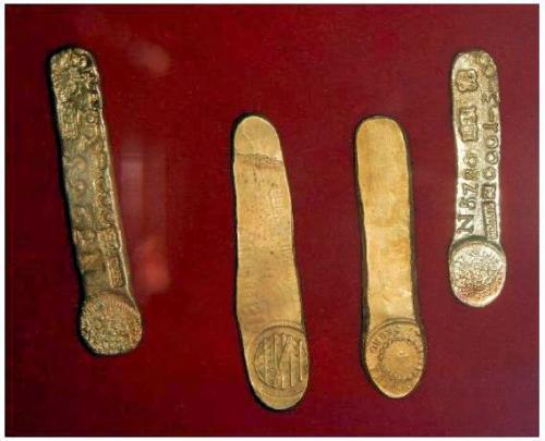 Lingotes de ouro(金の延棒)(Museu Casa dos Contos:元税管理人住居跡博物館)