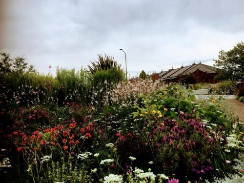 赤レンガ倉庫近づきます。<br />手前の公園の花壇が綺麗です。<br /><br />ガーデンネックレスの一環でしょうか?