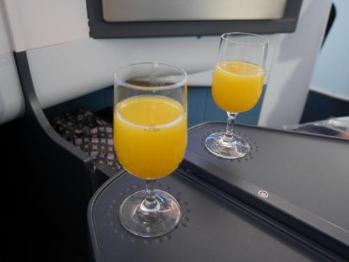 飲めない2人なのでウェルカムドリンクはオレンジジュース。<br /> 座席は1人-2人-1人仕様。1人の方が外を見られていいのですが<br />今回、母のお世話があったので真ん中の並びの席を予約しました。