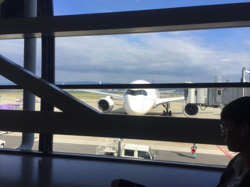 8月8日は待ちに待った家族旅行の日でしたが、私はその日の朝に上海から羽田、そして伊丹に移動して家族と合流でした。そして、数日前から台風が日本に接近していて、かなりドキドキでしたが、ギリギリセーフで大阪に帰れました。あと、半日遅かったらかなりやばかったと思います。実際、羽田空港では欠航のアナウンスがされていました。奥さんとは、私が帰れない場合、別でバンコクに行くプランまで立てていました。子供が作ったてるてる坊主が効いたかも。関空は、台風なんて関係ない良い天気でした。チェックインカウンターがめちゃくちゃ混んでいましたが、隣のiチェックインはガラガラだったので、その場でインターネットチェックインをしてかなりの人数をスルーできました。なぜ皆さんしないのかなーと、不思議。飛行機も若干遅れましたが、ほぼ予定通りに出発。初めてのA350。飛行機大好きの子供たちは大喜びです。タイ航空の朝便はA380の二階建てですが、A350の方が新しく導入されたはずです。きれいな機内でした。
