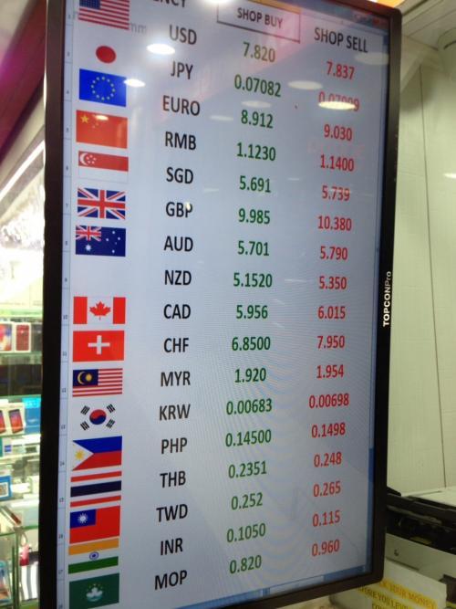 ANAビジネスクラスで行く4回目の香港~その①の続きです。<br /><br />夕食に行く前にHKDが少なくなってきたので両替します。<br />とりあえずは到着日にツアーの送迎の方に両替してもらいました。<br />レートは1万円=670HKD。(1HKD=14.92円)<br /><br />追加の両替は、クチコミでレートが良いという重慶マンションへ。<br />店名わかりませんが、奥の方のお店へ。<br />1万円=708.2HKD。(1HKD=14.12円)<br />たくさん両替する場合はかなりの差が出てきますね。