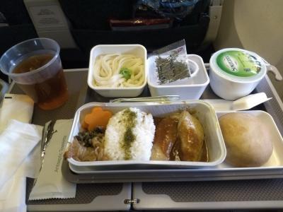 香港に行く際は専らLCCなので、こんながっつりと機内食を頂ける事に若干の違和感。<br />鶏肉は中華風の味付けでなかなか美味。煮物は白滝もあったりと純和風。<br />この後、デザートにハーゲンダッツまで頂いた。プレエコだからかどうかは不明。
