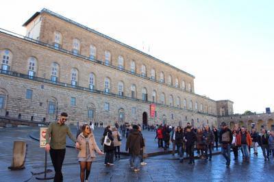 ピッティ宮殿です<br />ウフィツィ美術館との共通券で優先入場できました<br />パラティーナ美術館は外観からは想像できない豪華な美術館<br />インフェルノの舞台となったボーボリ庭園は時間が足りなくて断念しました<br /><br />