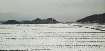 新幹線で広島に向かう途中は数日前に降った雪がまだ残っている所も。