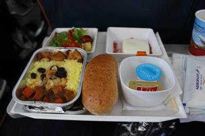成田空港からモスクワ、シェレメーチエヴォ空港へ。<br />前回搭乗した際には、事前に注文しておいたヴィーガンミールが出ずに<br />副菜だけで、長時間フライトに耐えた嫌な思い出があったけど、<br />今回はしっかり出してくれました。<br /><br />メインはニンジンのカレーとジャガイモのサブジ的なカレー炒め、ターメリックライス付き。<br />サラダと杏仁豆腐、胚芽パンというメニュー。<br />量的には少な目だけど、マズくもない。<br />アリタリアのヴィーガンメニューがひどかったことを思うと<br />食べられるだけありがたい。<br /><br />搭乗率は90%くらい?<br />空席はなく、私の座席周辺は大学のゼミか何かの人たちが集団で乗っていました。<br />隣は小柄な女性だったので、圧迫は少な目。<br />それでもとなりが空席のことの多かった今までのフライトを思うと窮屈に感じる。