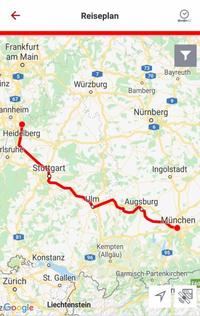 ハイデルベルクからシュトゥットガルトまではECで約40分。さらにシュトゥットガルトからミュンヘンまでは2時間です。