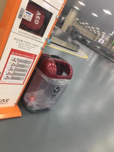 釜山で最初に見つけたごみ箱なのですが、これ、スーツケース型になってるんです。かわいいなーと思って。