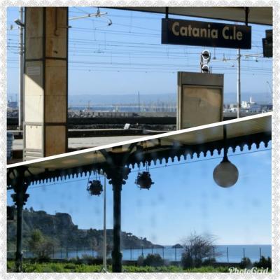カターニア発8:41 ヴィラ・サン・ジョヴァンニ着11:25<br />カターニア駅のホームからは、海が見える。