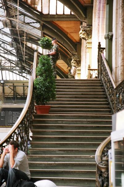 パリ・リヨン駅には早めに着いたので、私たちの乗る10:20発のTGV6009番はまだ出発ホームが表示されていなかった。目を転じれば、優雅に曲線を描く階段の上に銃を持った兵士という不似合いな光景に、あまり違和感を覚えないのはあのベレー帽のせいか、などとのんびり眺めていた。<br /> ところが、出発ホームの電光表示すべてが突然消えてしまった。発車5分前になってようやく点灯したものの、私たちの6009番マルセイユ行きが表示されていない!!<br /> しかし、フラツー掲示板にあった6009番は6257番と連結しているという情報を思い出し、6257番がとまるホームをずんずん進むと案の定、奥に6009番がいて、発車ぎりぎりで間に合った。危ないところだった。<br /><br /> 座席は2階建ての2階席にしたので荷物の上げ下ろしは重かったが、景色がよく見えていい。荷物置き場においたスーツケースは用意のチェーンで固定して安心。<br /> 3時間も経たずにアヴィニョンに到着した。速い。