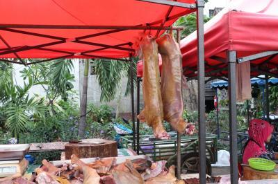 朝 7時過ぎ<br />訪問<br />豚がブラーンと 吊るされています