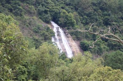 昼食場所から<br />遠くに 滝が