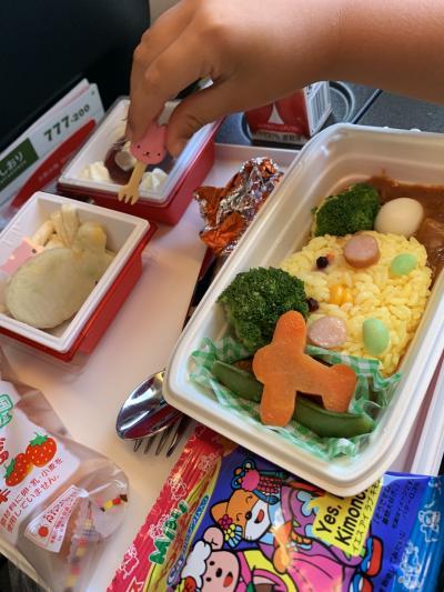 いつも食べてしまうのが勿体無いくらい可愛いJALの子供用機内食(^^)