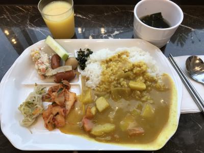 宿泊した東横インソウル東大門Ⅱの朝食<br />カレーライスがあった。韓国風のカレーなので日本のカレーより、黄色く、辛く無い。