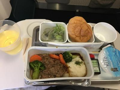 中部国際空港から香港まで4時間20分の飛行です。機内食にワインを貰いました。<br /> 食後はお約束のハーゲンダッツアイスクリームが付きます。