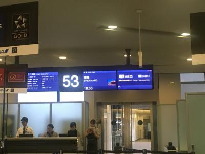 無事、成田空港へ到着です。チェックインを済ませ、手荷物検査場、出国手続きをし、搭乗ゲートを確認。ANAだけど、やはり日本人より中国人の方が多かったです笑<br />瀋陽は日本での情報が少なくて不安でいっぱいでしたが、飛行機がANAというだけで安心感があります。