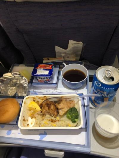 チャイナエアライン羽田発の朝便で出発です!!<br />機内食、テリヤキチキンとチャーハン。日本から載せるごはんはまぁまぁ。