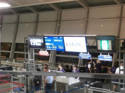 セントレア午後8時20分発のデルタ航空です